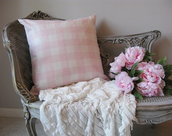 Pink Buffalo Check Plaid Pillow Cover 20X20 Pink Cream Girls Bedroom Nursery Porch Sofa Romantic Shabby Chic Cottage French Farmhouse Style