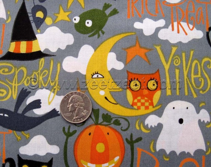 BOO Spook Orange Pumpkin Witch Cat Grey Halloween - Cotton Quilt Fabric by the Yard, Half Yard, or Fat Quarter David Walker Free Spirit Cute