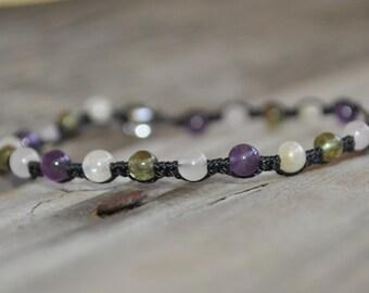 Rose Quartz, Moonstone, Amethyst, Peridot Meditation Bracelet, Crystal Healing, Minimalist Jewelry, Hypoallergenic, Yoga Bracelet, Fertility