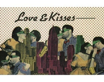 Vintage 3D Postcard - Love and Kisses with a Pair of Vintage 3D Glasses - Wow