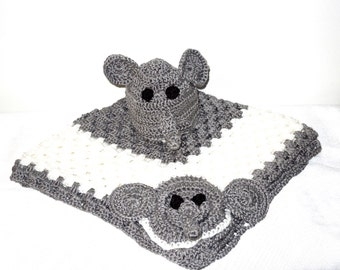 Crochet Baby Blanket and Hat Set, Newborn, Elephant, Gray, White, Baby Shower Gift,