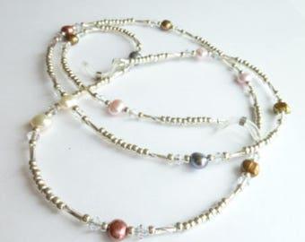 Pearl Eyeglass Chain, Silver Eyeglasses Chain, Beaded Eyeglass Chain - Freshwater Pearls, Glasses Holder