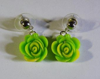 Dangle Green & Yellow Rose Earrings  #651