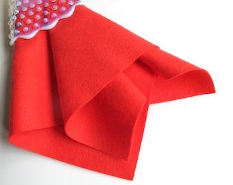Pure Wool Felt, Scarlet, Choose Size, Felt Square, Wool Felt Sheet, Wool Yardage, Pure Merino, DIY Supply, Applique, Bright Red Felt