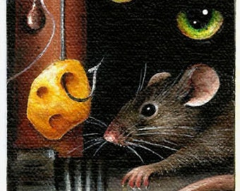 "2 1/2"" X 3 1/2""  ACEO                 ""Don't Take the Bait"" Cat 'n Mouse                   Original Acrylic Painting"