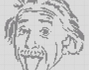 Albert Einstein Tongue Silhouette Cross Stitch 1 Color Easy PDF Pattern