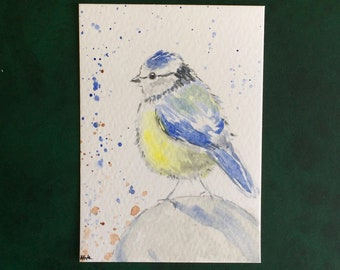 Bird ORIGINAL Miniature Watercolour, Wildlife painting, Blue bird, ACEO, Watercolor,  For him, For her, Home Decor, Wall Art, Gift Idea