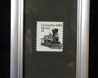 Framed postage stamp, Locomotive stamp, collectible postage stamp, appreciation gift, thank you gift, U.S. postage