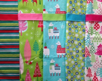 Made to Order - Modern Bright Colorful Christmas Stockings with Ribbon in Neon Green, Aqua Blue, Red, and Pink