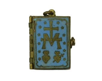 Antique Bible Locket. Religious Miniature Book Pendant with Pictures of the Life of Jesus and Virgin Mary. French Catholic Victorian Jewelry