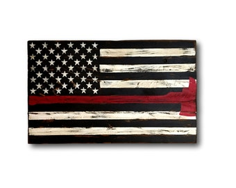 Thin Red Line Flag - Firefighter Axe Sign - Firefighter Gift - Firefighter Wood Flag - Thin Red Line Pallet Wood Flag - Fire Academy Gift