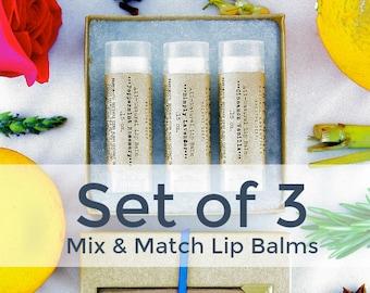 Set of 3 Organic Lip Balms / Shea Butter Lip Balm Set / Natural Skin Care / Handmade Lip Balm Gift Set / Natural Lip Balms / Gifts Under 15