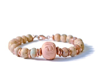 Aromatherapy Diffuser Bracelet with Grainstone, Serpentine, Antique Copper, and Terracotta