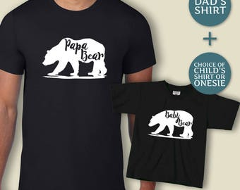 Papa & Baby Bear Shirt Set, Fathers Day Gift, Gift For Him, Papa Bear T shirt, New Baby Gift, First Time Dad, New Dad Top, Bear Tshirt