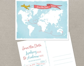 Destination wedding World map International couple bilingual wedding Save the Date Card Airplane with Banner USA Australia DEPOSIT PAYMENT