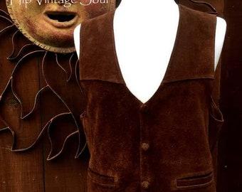Vintage 1970's Women's Brown Suede Vest, Bolivian Suede Vest, Bohemian Suede Vest, Soft Suede Vest