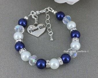 Flower Girl Bracelet Flower Girl Jewelry Flower Girls Gift Navy and White Flower Girl Pearl Bracelet Pearl Jewelry for Flower Girl