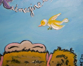 """Nursery Art, ORIGINAL Painting, Titled """"Imagine"""", perfect for young girl"""