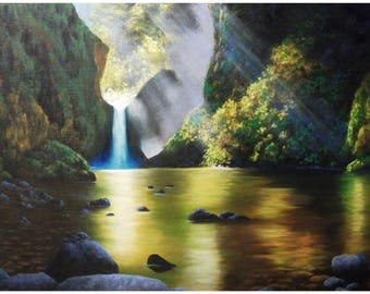 Punchbowl Falls, Waterfall, Sunlight, Rocks, Water, Print made from my Painting