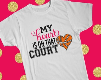 My heart is on that court basketball hoops Sports SVG Design File, Cut File Silhouette and Cricut