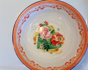 Yamata Dish Large Vintage Metal Floral Enamel Bowl Mixing Bowl Vintage Bowl Yamata 5