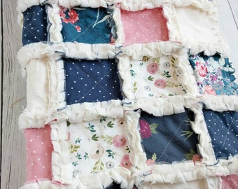 Navy Blue and Blush Floral Quilt