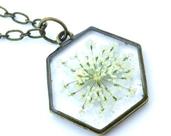Queen Anne's Lace Pressed Flower Necklace in White with Antique Brass Bezel, Real Flower Jewelry, Pressed Flower Jewelry by Kyleemae Designs