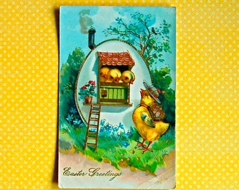 Vintage Humanized Chicks Easter Postcard, Unused with Gold Details, Embossed