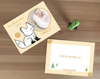 Birth announcement card with illustration of a fox - to customize together , to print yourself