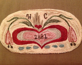 "Punch Needle Pattern, ""Heilda's Heart"", a punch needle design by YellowDog Lane."