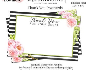 Peony Thank You Postcard, Thank you Tags, Swing Tags, Package Inserts, Postcard, Thank You Postcard, Hang Tag Template