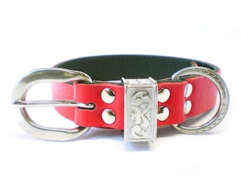 """1"""" Nickel Free Red Leather Plain Dog Collar with Stainless Steel Hardware and a scalloped engraved keeper"""