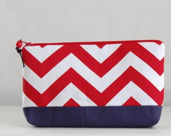 Red Chevron Wide Padded Zipper Pouch Gadget Case Cosmetics Bag - READY TO SHIP