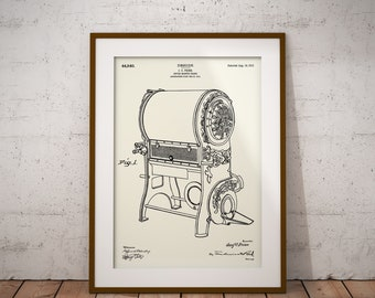 Coffee Roaster Patent Print, Design For Coffee Roaster Frame Drawing, Coffee Roaster Blueprint, Gift for Barista, Gift for Coffee Lover, Art