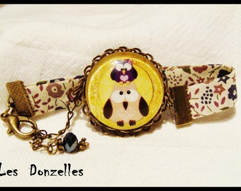 Liberty bracelet - OWL Couple - glass cabochon