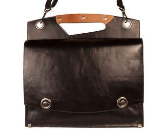 Black Leather briefcase, black leather attache, messenger bag