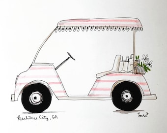 Vehicle sketch, Custom Illustration, Whimsical Art from Photo, Archival Quality 8x10