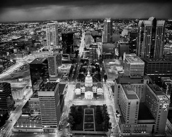 St Louis Missouri Downtown View from Top of Gatway Arch - Fine Art Photograph 5x7 8x10 11x14 16x20 24x30