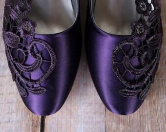 Wedding Shoes, Eggplant Wedding Shoes, Purple Wedding Shoes, Lace Wedding Shoes, Purple Lace Wedding Shoes, Closed Toe Shoes, Kitten Heel