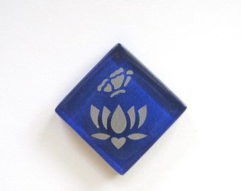 Lotus Flower Butterfly Magnet Silver Etched Royal Blue Glass MosaicTileThe Lotus-Butterfly Project