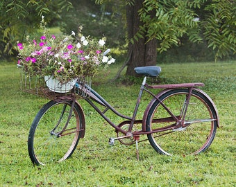Bicycle Wall Art Bike Photograph Print Antique Vintage Bicycle Country Art Floral Print Rustic Bicycle Home Decor Rustic Bicycle Photograph
