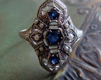 Art Deco design Sterling Silver Sapphire & Seed Pearl  Ring  Size 9