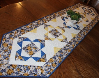 Blue and Yellow Quilted Table Runner, Butter Yellow and Blue Table Runner Quilt, Floral Bed Runner Quilt, Quiltsy Handmade Dining Decor