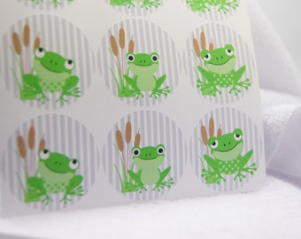 Frog Stickers Envelope Seals Stickers Party Favors Stickers Treat Bag Stickers  - Set of 24