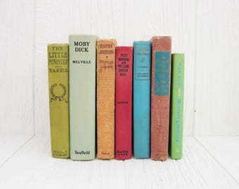 Vintage Colorful Books, Instant Collection of 7 Antique Books, Rainbow Book Set, Bookshelf Decor, Wedding Table Centerpiece