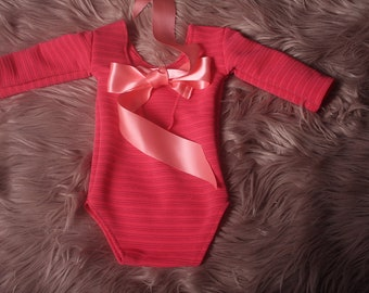 Newborn style Stretch Lace Romper Stretch,Coral + silver striped,Newborn shoot.Photographers Prop.3 styles,Handmade in the UK ship worldwide