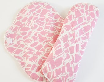 Set of 2 Pastel Crackle Printed Reusable Cloth Mama Pads . 8 Inch FREE Shipping