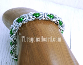 Byzantine Bracelet - Silver & Green