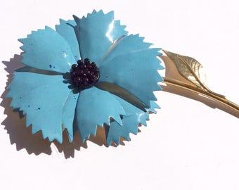 Vintage Turquoise Enamel Flower Brooch with Black center, Gold Tone stem and leaf