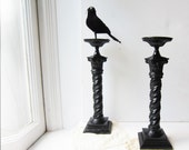 Pair Large Vintage Candle Holders - Black Table Centerpiece - Dilly 14""